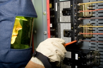 electrician with protective clothing